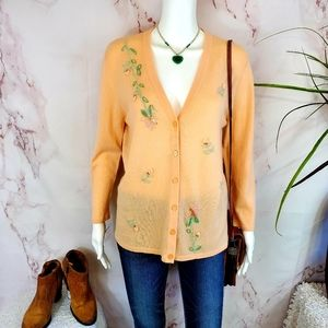 Escada authentic 100% cashmere beaded cardigan